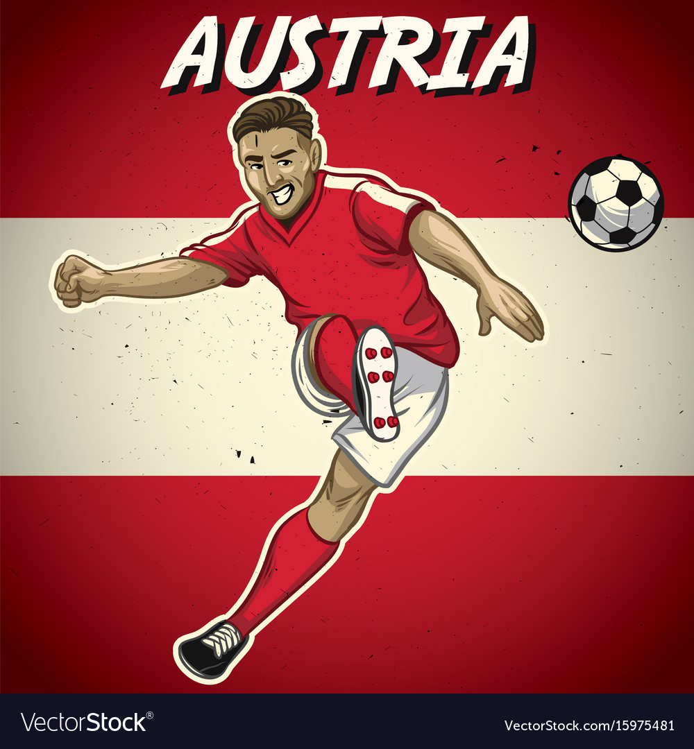Austria soccer player with flag background