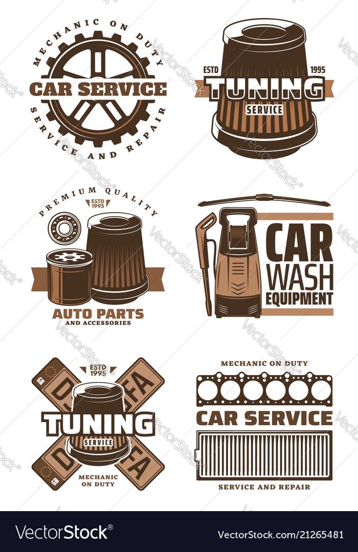 Car service repair shop retro icon with auto part