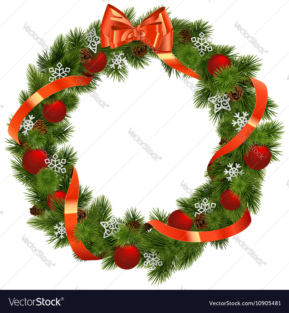 Christmas Wreath with Red Decorations