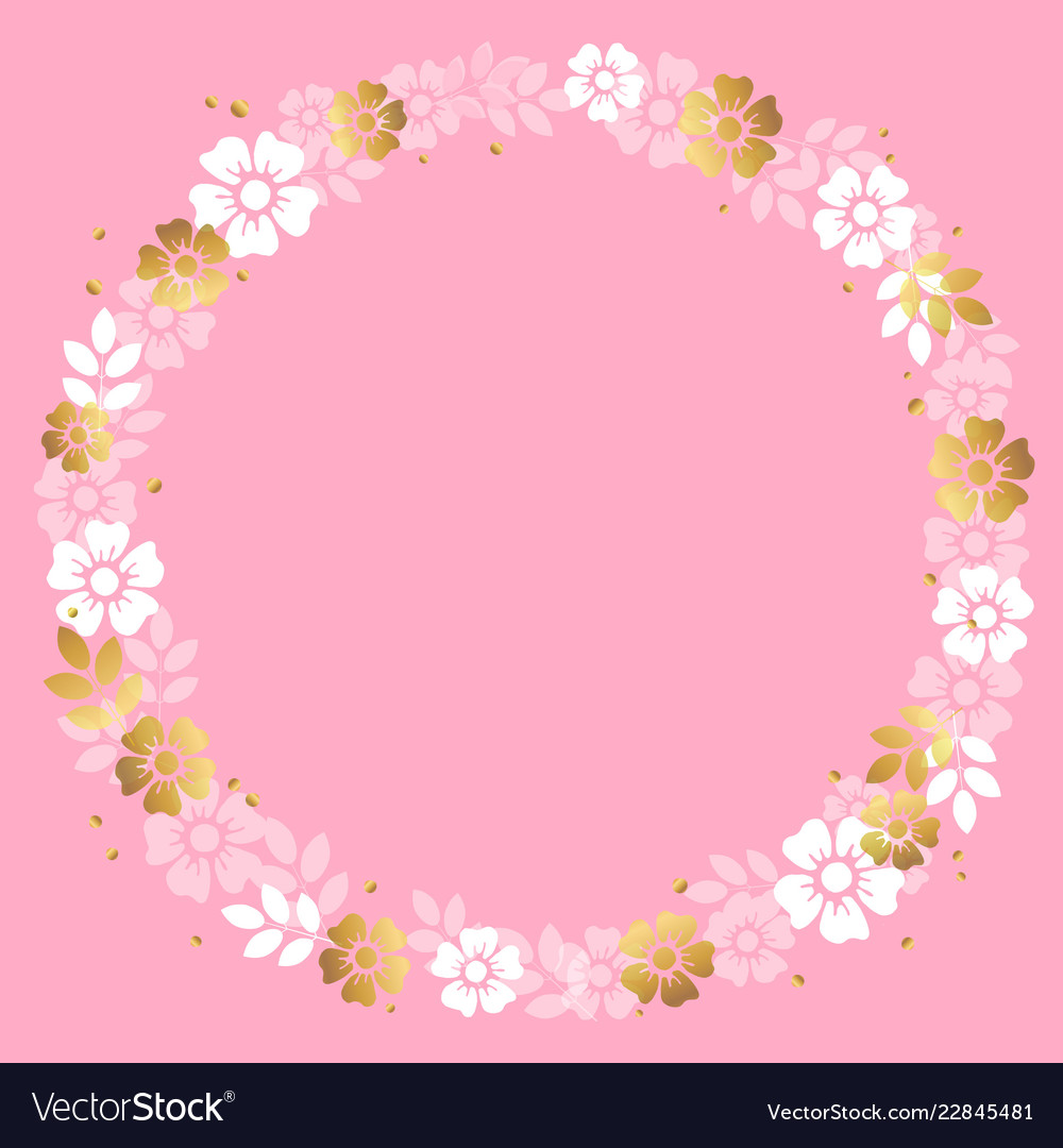 Circle frame of white and golden flowers on pink