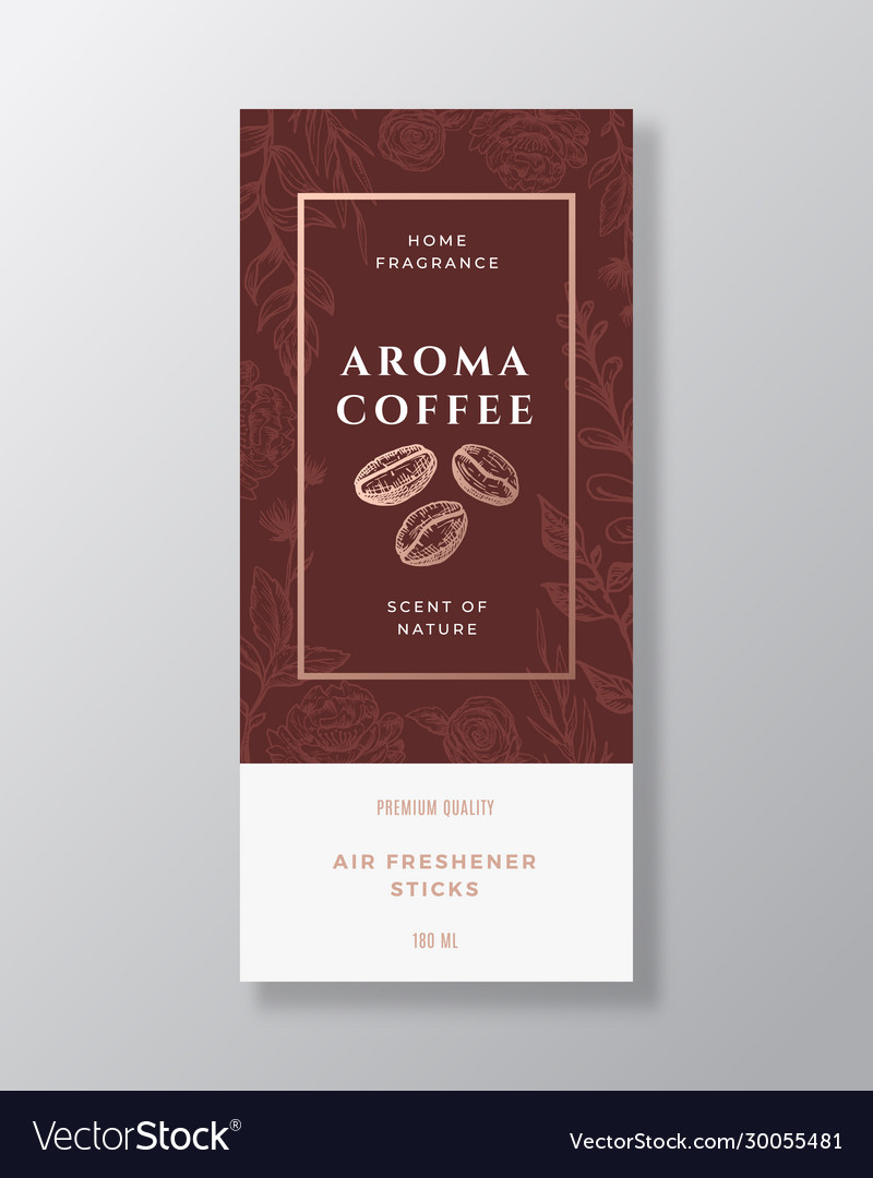 Coffee beans home fragrance abstract label