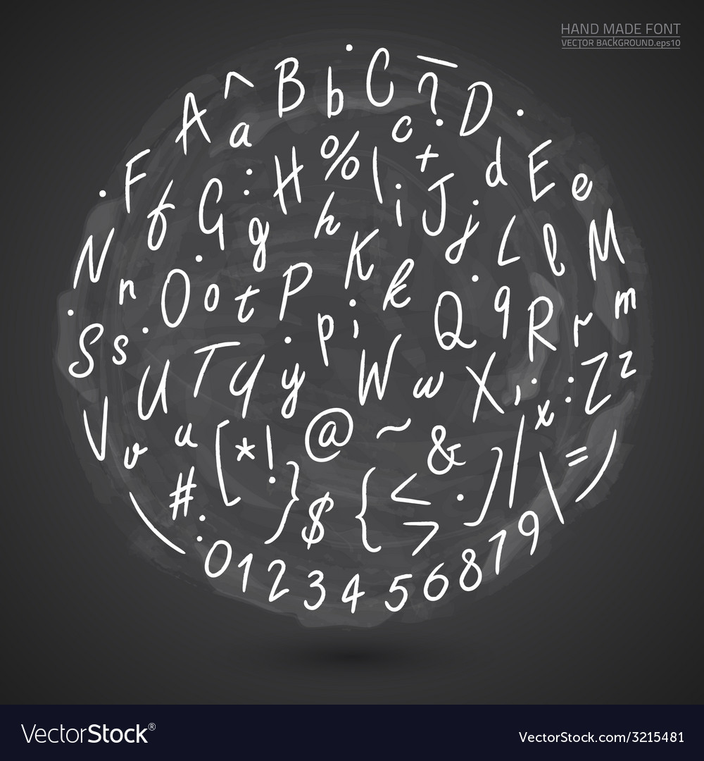 Grunge Hand Made Font vector image