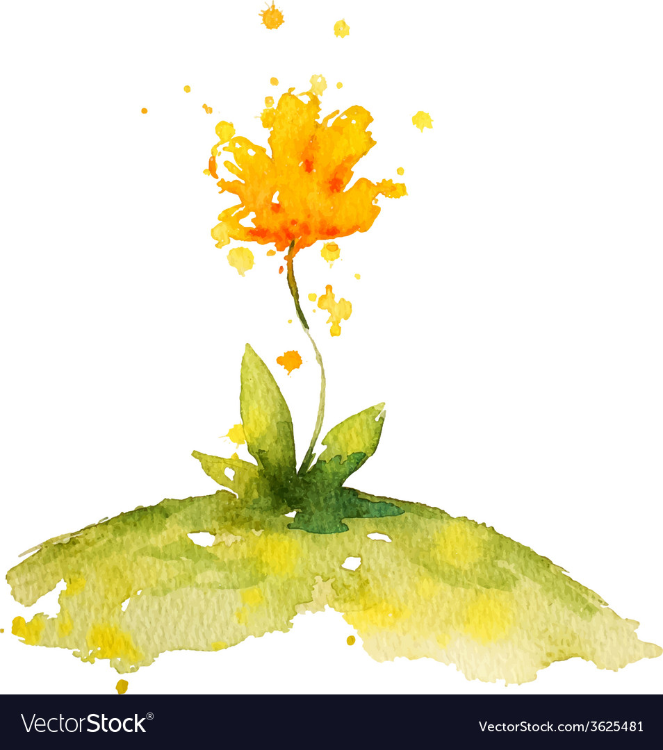 Hand Painted Yellow Watercolor Flower Royalty Free Vector
