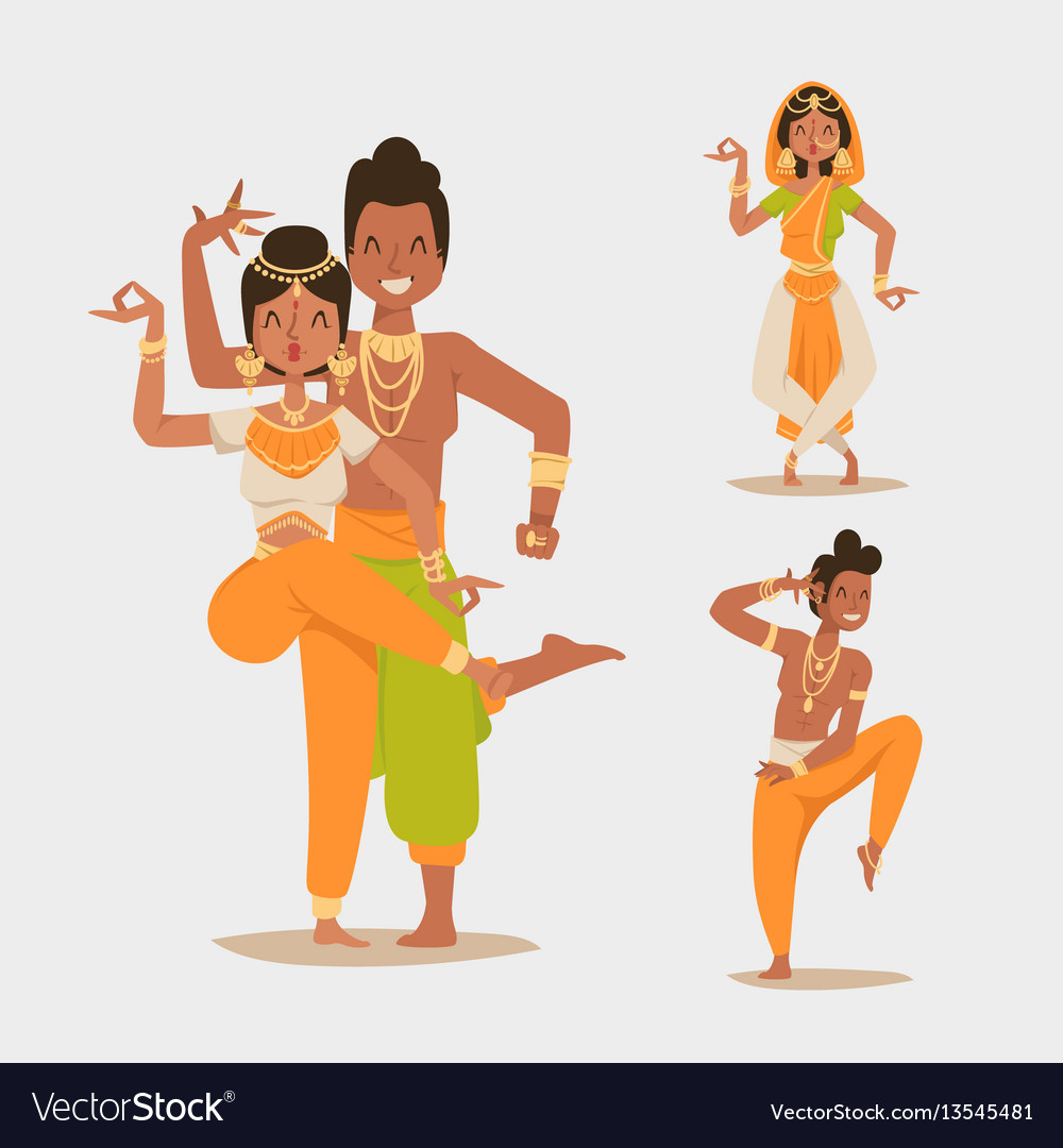 Indian woman man dancing isolated dancers