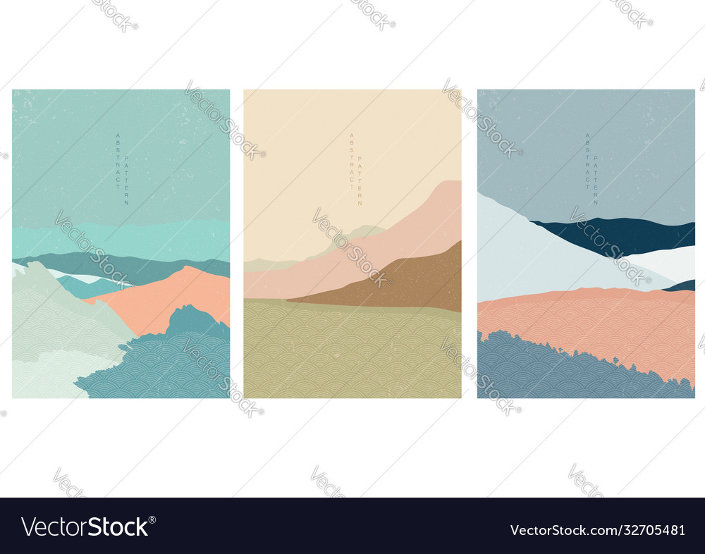 Landscape background with japanese wave pattern
