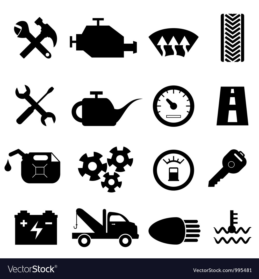 Mechanic workshop icons vector image