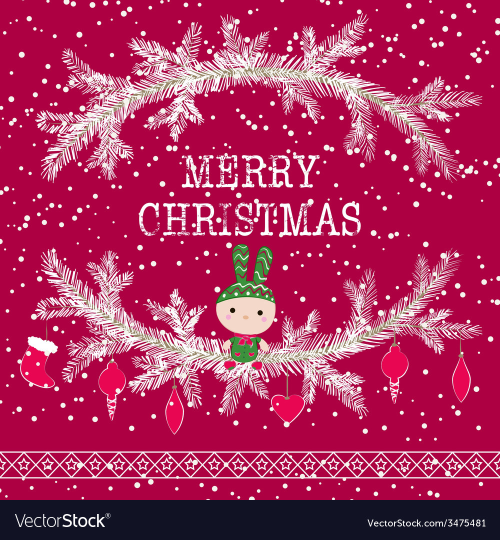 Merry Christmas Greeting Card Cute Toy Bunny Vector Image