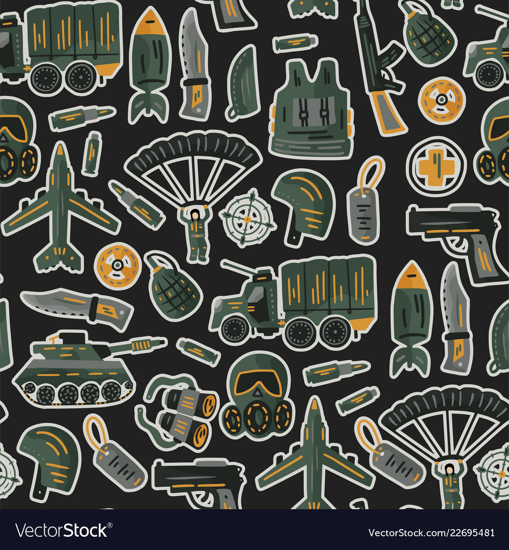 Military and army seamless pattern