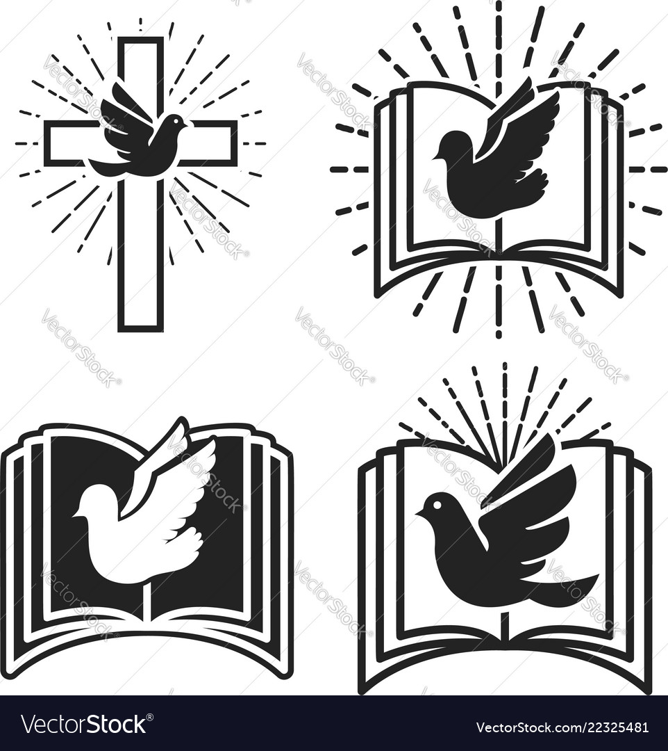 Religious community emblem template with dove and