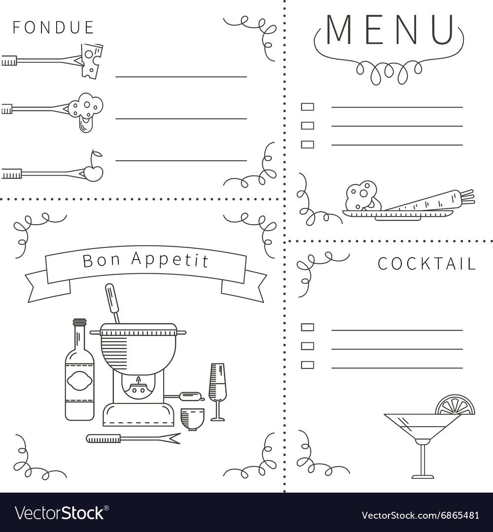 Template menu fondue black white