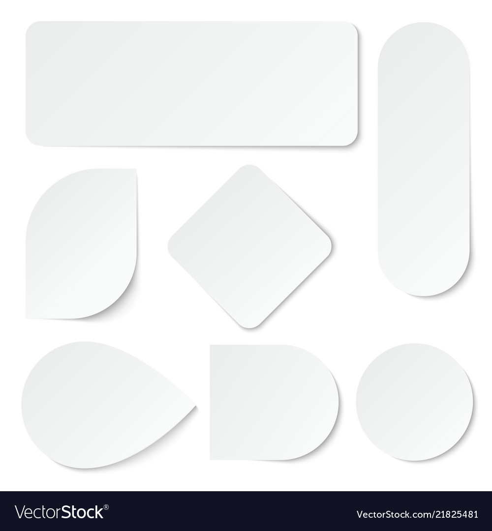 White paper stickers blank labels tags in