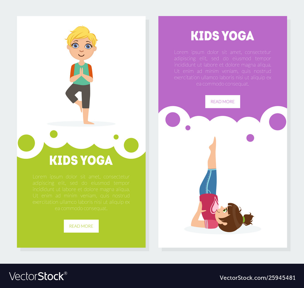 Yoga for kids banners landing pages templates set