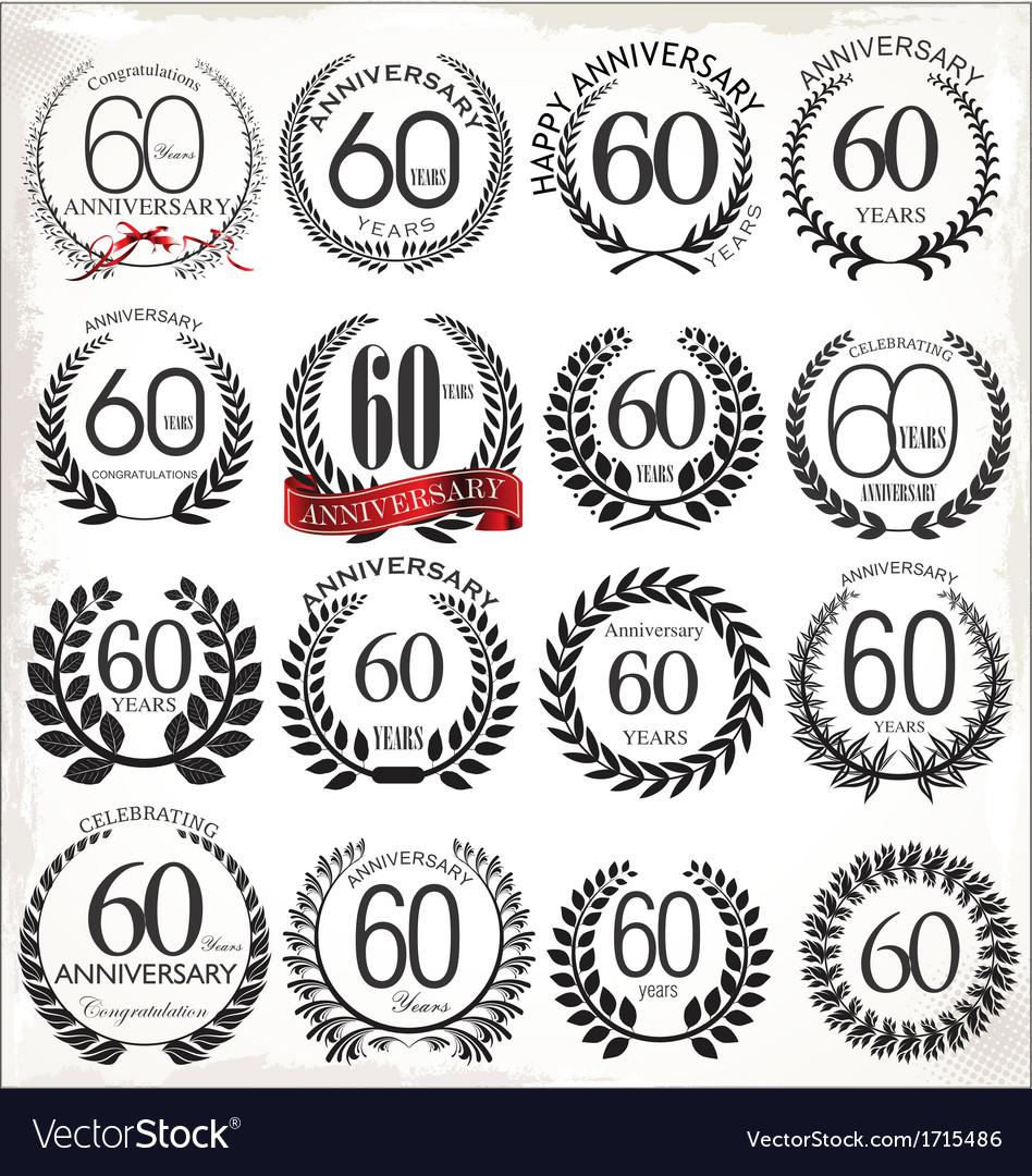 60 years anniversary laurel wreaths vector image
