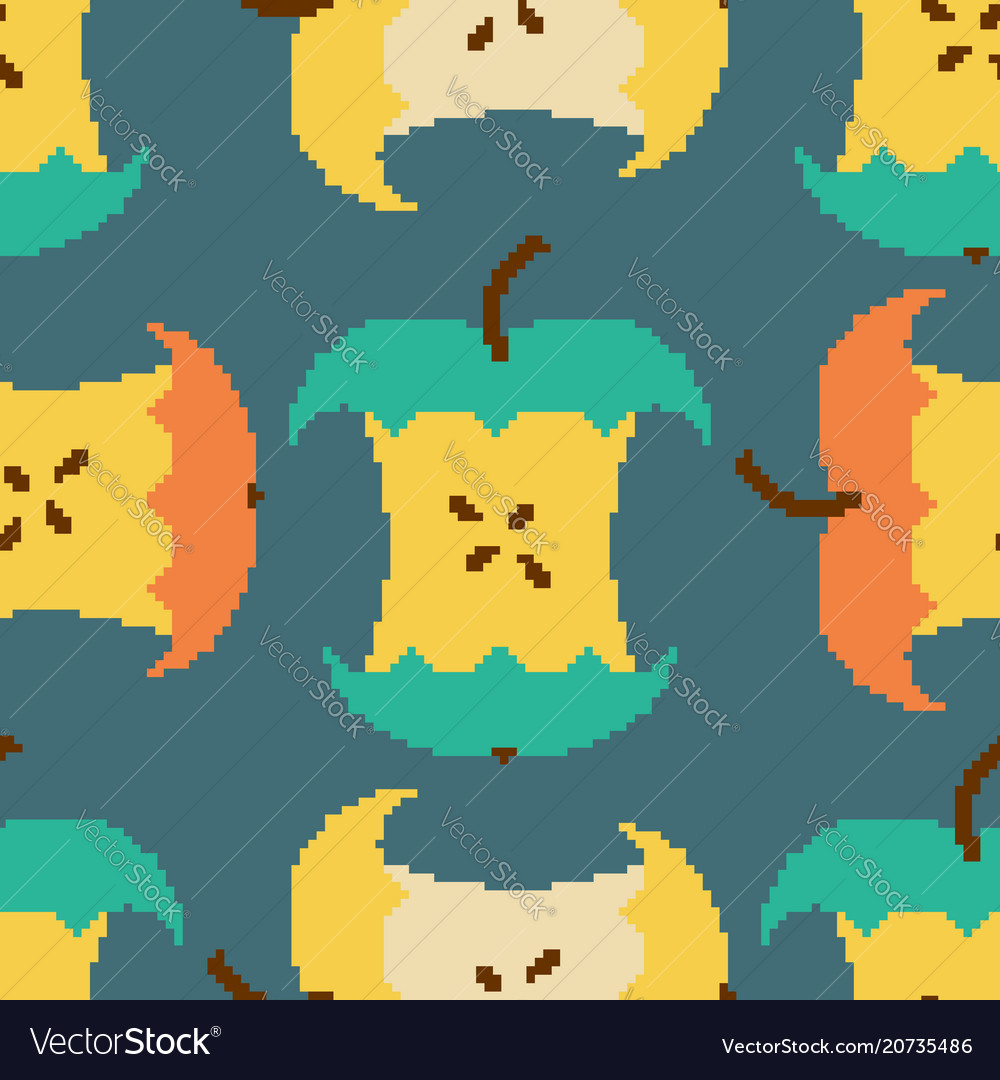 Apple core pixel art seamless pattern pixelated