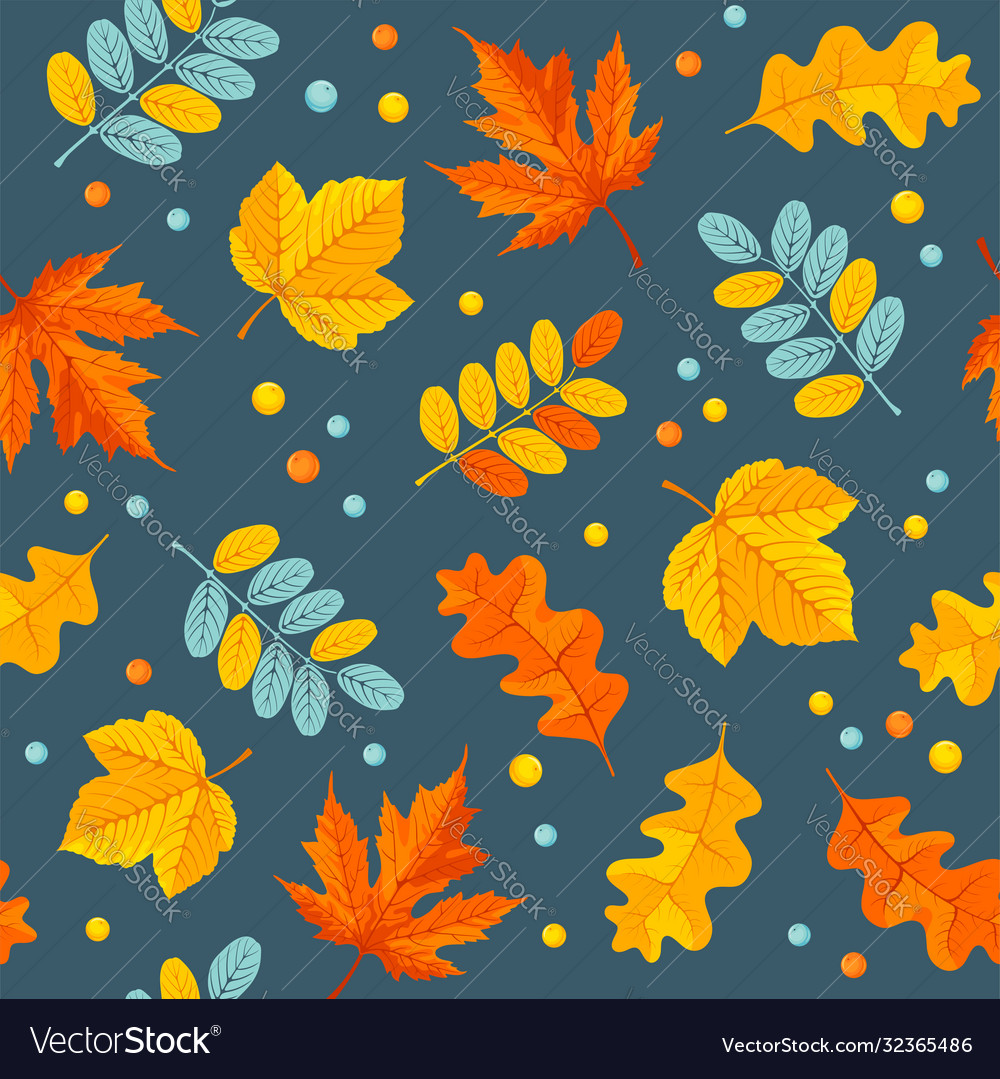 Autumn floral seamless pattern with oak and maple