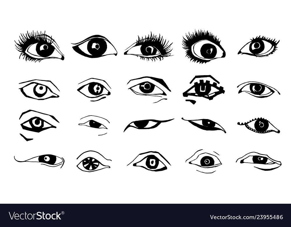 Beautiful woman eyes ink drawing