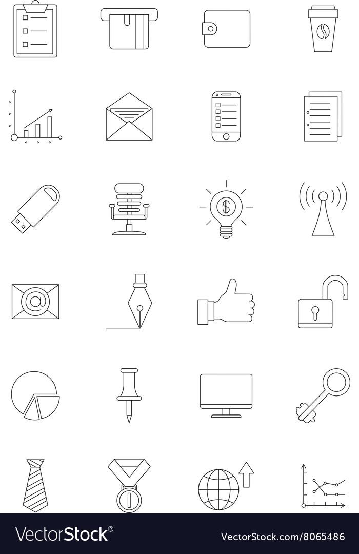 Black office icons set