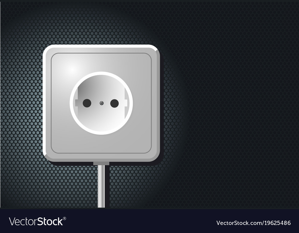 Electric european outlet on the wall white