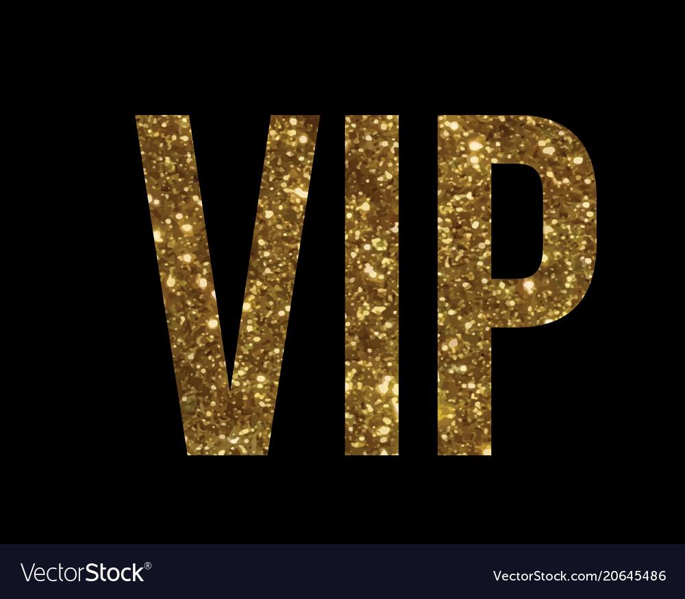 golden glitter isolated standard font word vip vector image