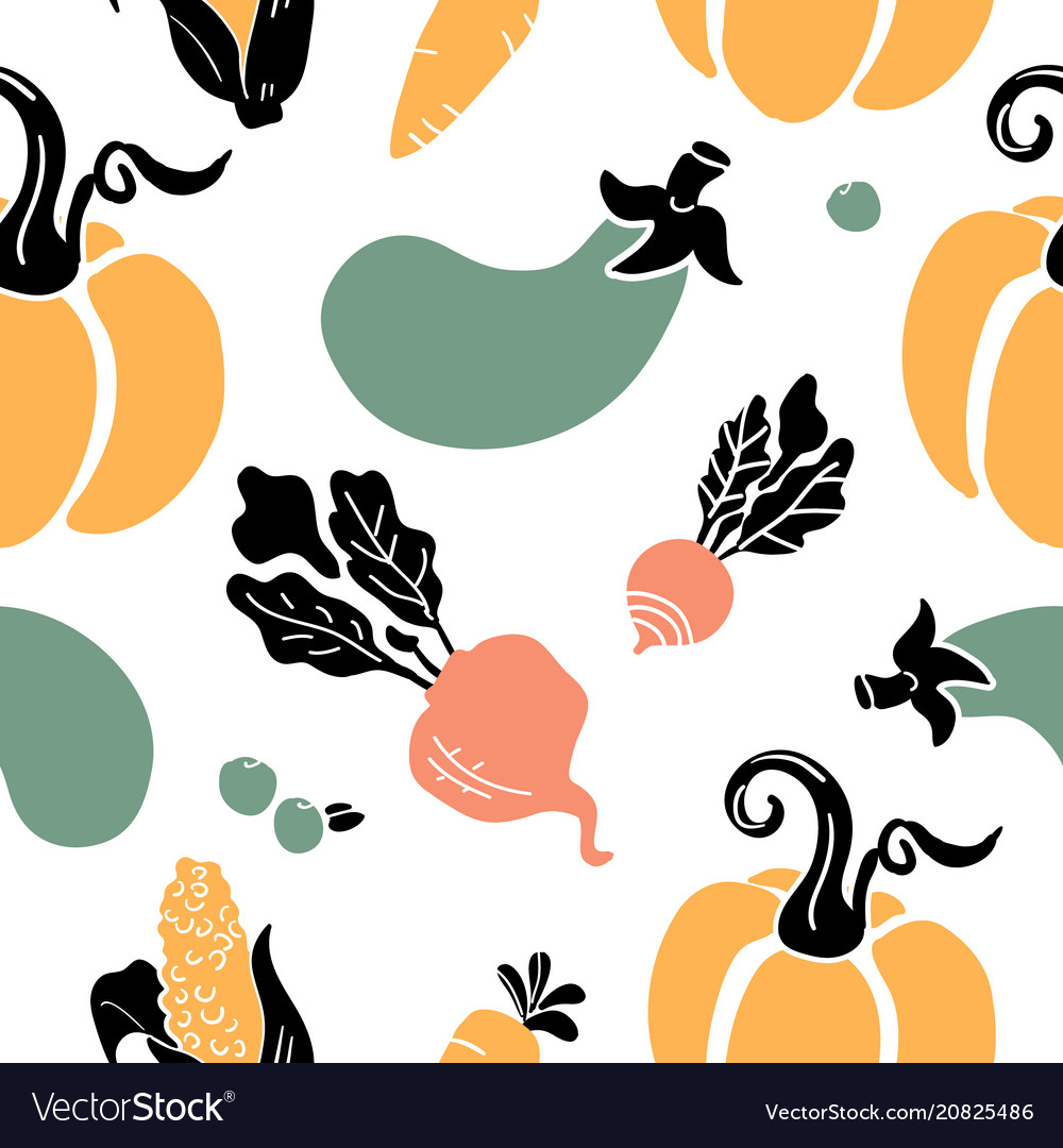 Hand drawn seamless pattern of fruits vegetables