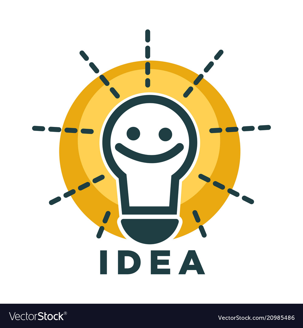 Idea lamp or light bulb with smile face vecor icon vector image