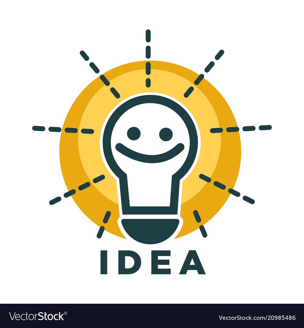 Idea lamp or light bulb with smile face vecor icon