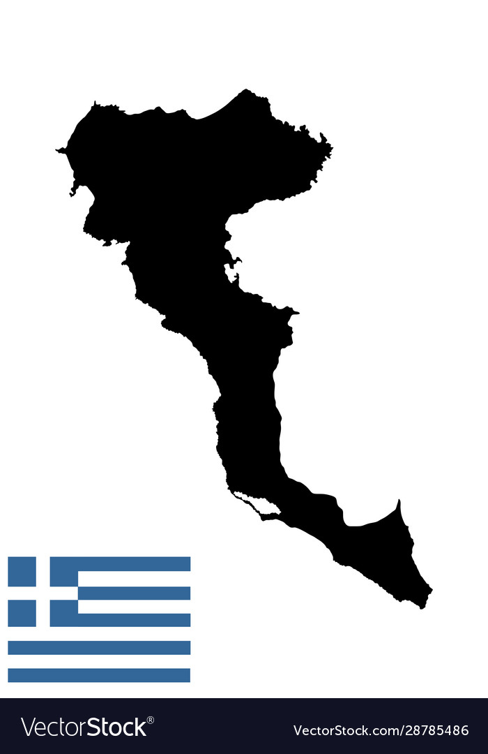 Island Corfu In Greece Map Silhouette Royalty Free Vector