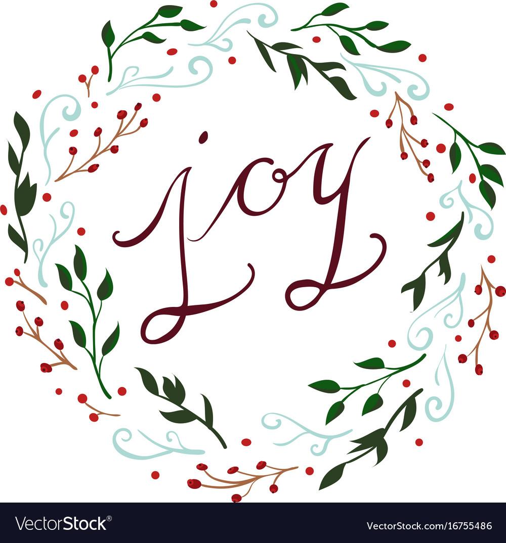 Joy christmas wreath Royalty Free Vector Image