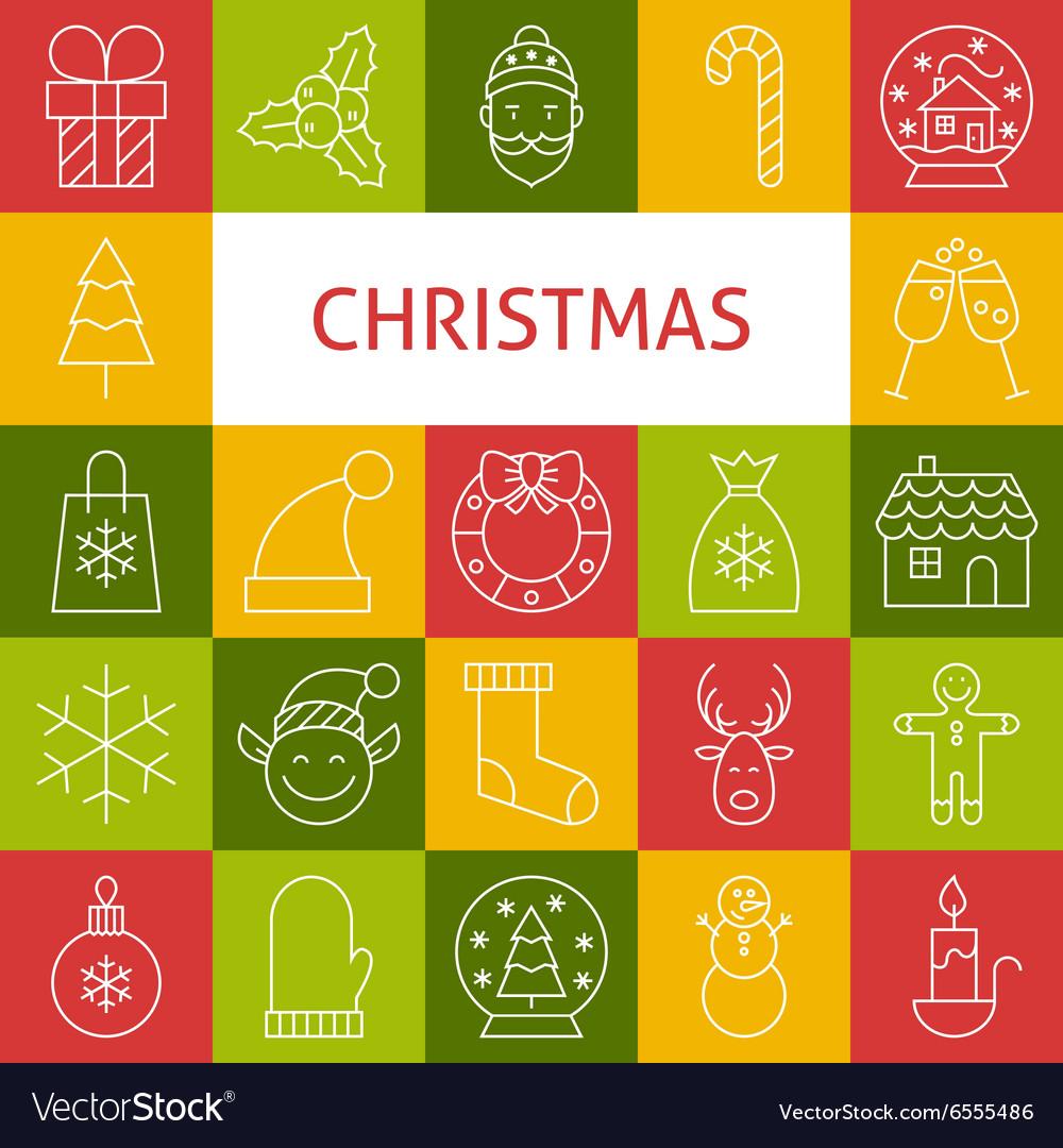Line Art Modern Merry Christmas Holiday Icons Set
