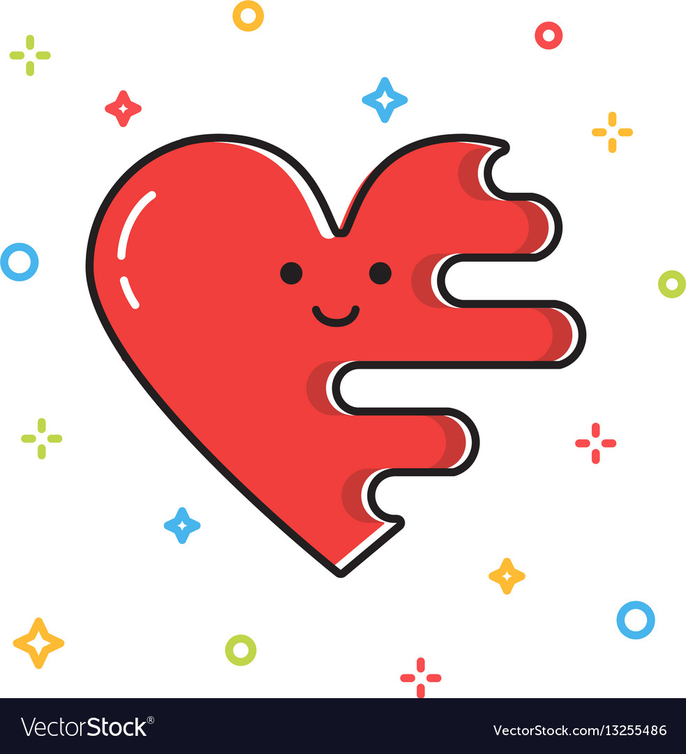 Melting cute red heart valentine day card vector image