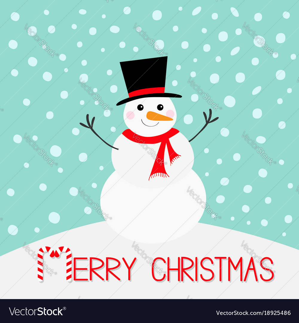 8e09021cc223e Merry christmas snowman carrot nose hat red scarf Vector Image