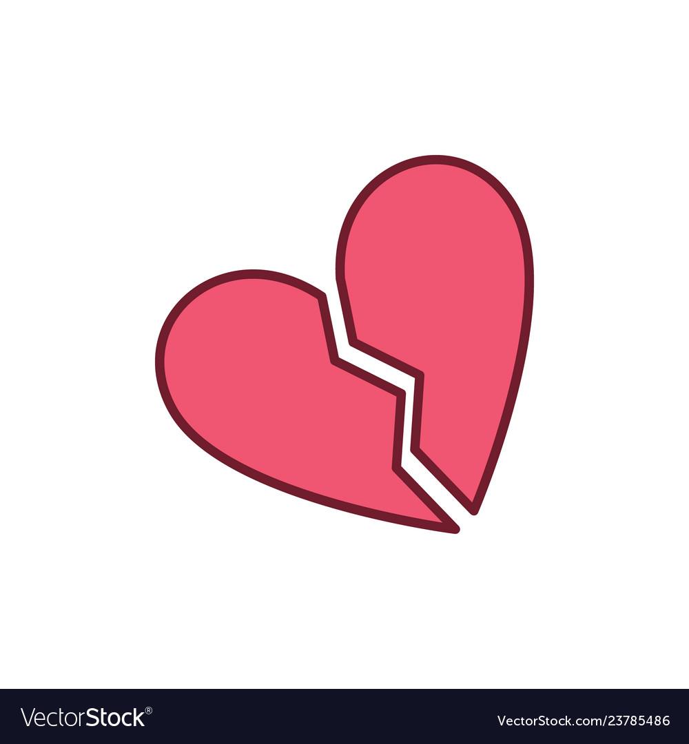 Red broken heart creative icon