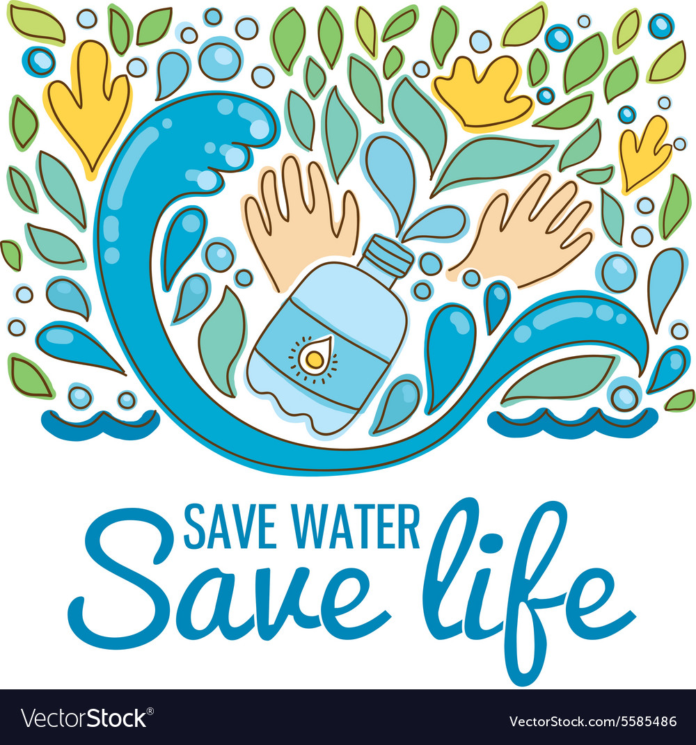 Save water - save life Hand drawn drops waves