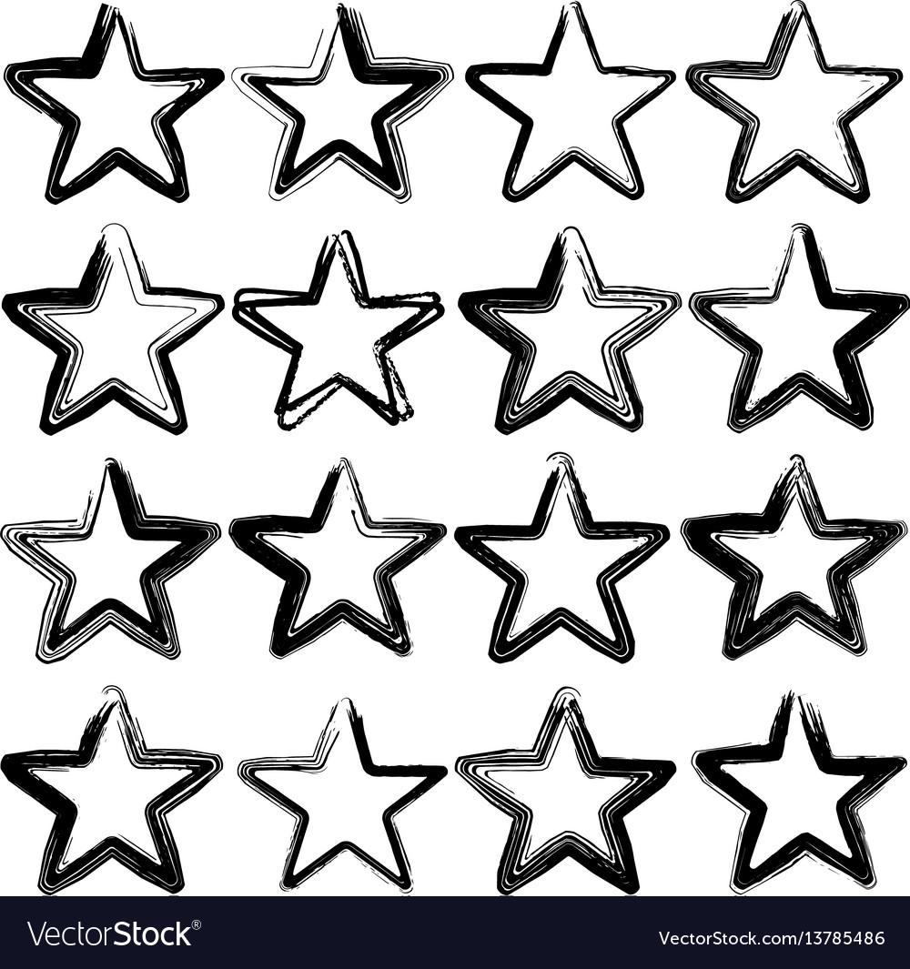 Set of sixteen grunge stars brush strokes
