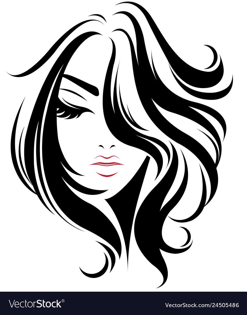 Women Short Hair Style Icon Logo Women On White