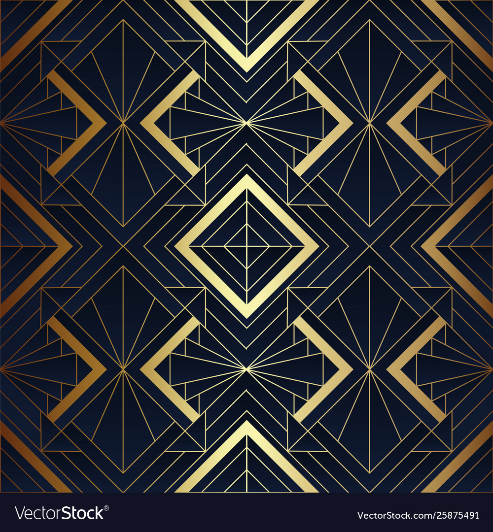 Abstract art deco seamless blue and golden pattern