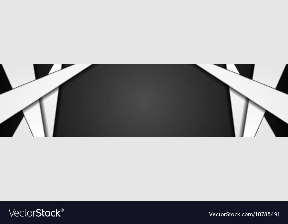 Abstract black white corporate banner design