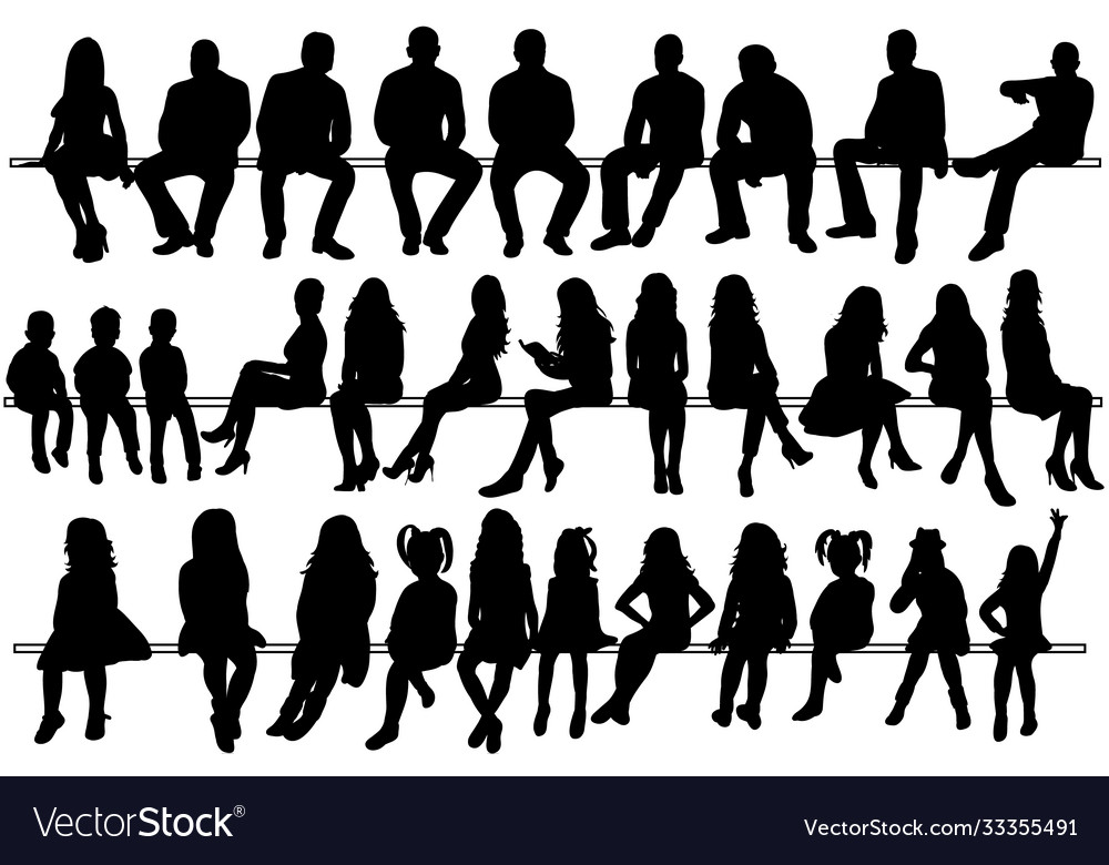 Collection silhouettes people sitting men