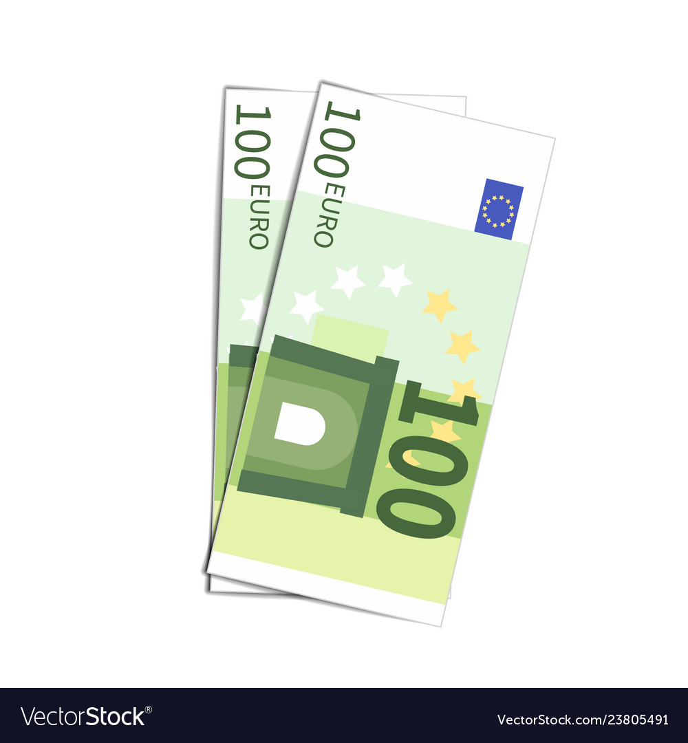 Couple of simple one hundred euro banknotes on