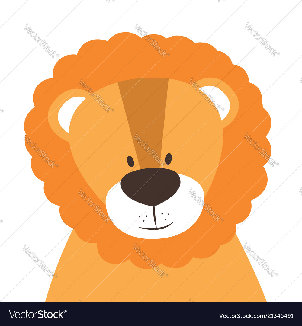 Funny doodle animal little lion in cartoon style