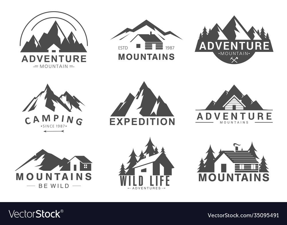 Mountain logo flat set design