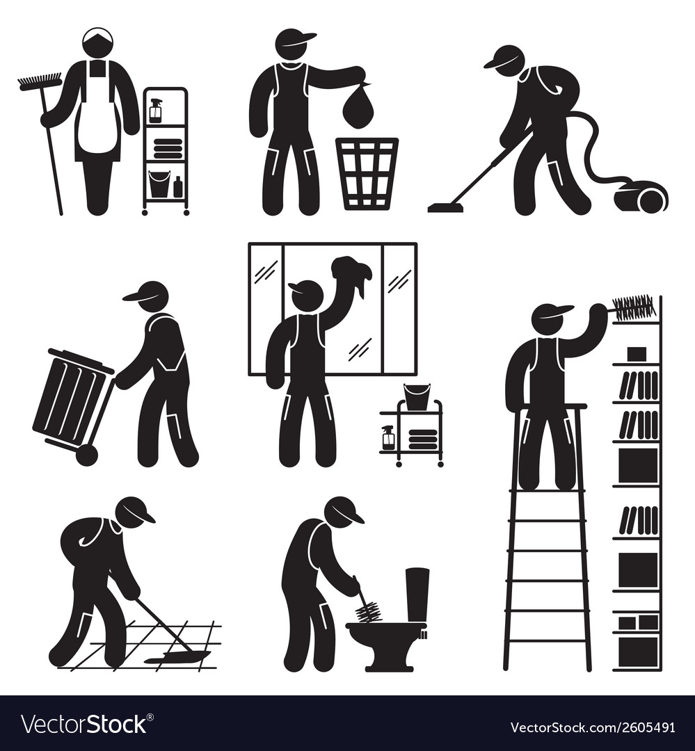 Peoples cleaning icons set vector image