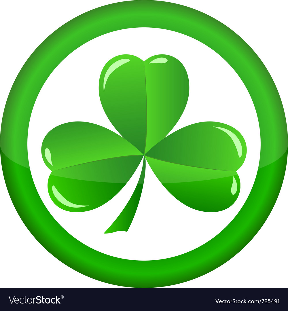 Round icon with a shamrock