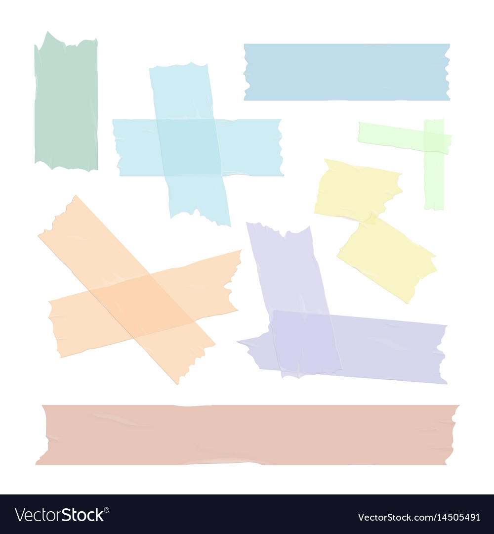 Scotch tape pieces set isolated