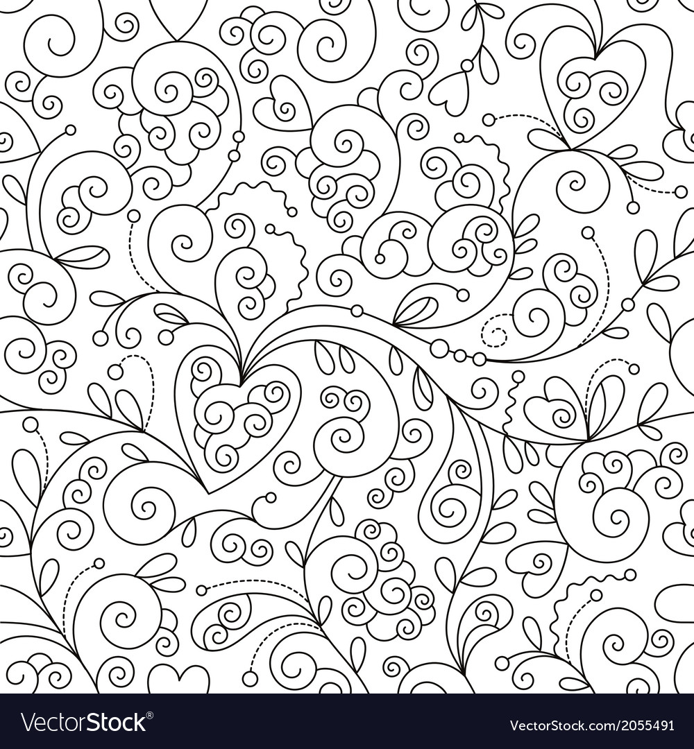 Seamless floral pattern black and white drawing