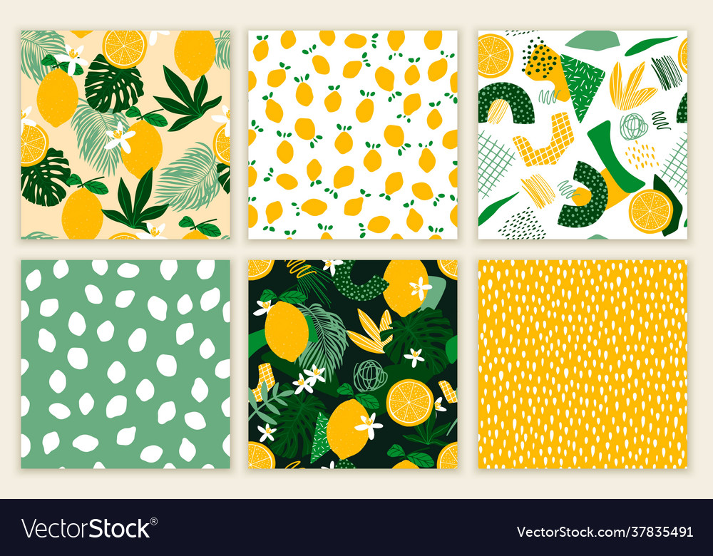 Set seamless patterns with lemons exotic palm