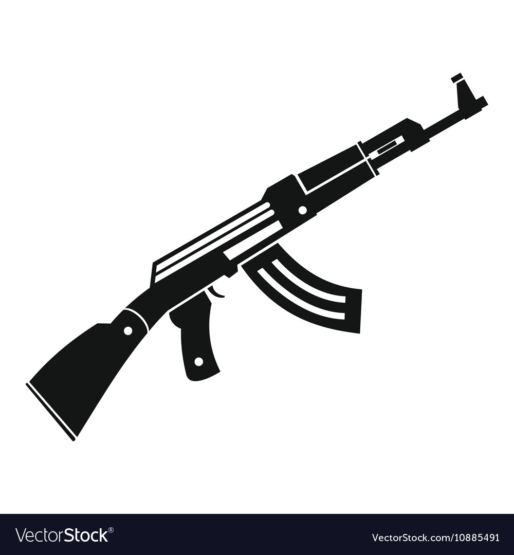 Submachine gun icon simple style vector image