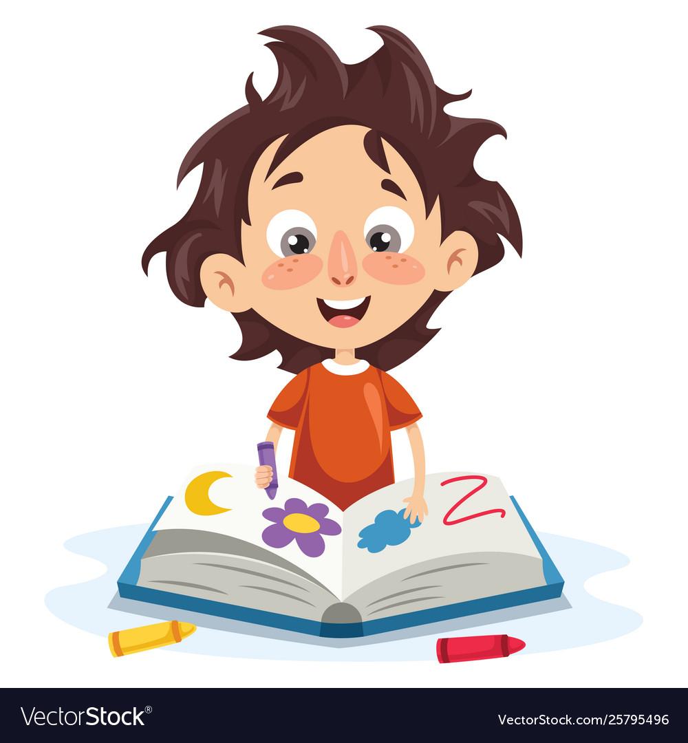 A Kid Coloring Book Royalty Free Vector Image Vectorstock