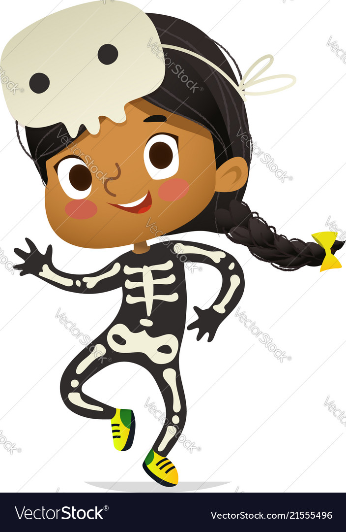 African-american girl wearing skeletom costume and