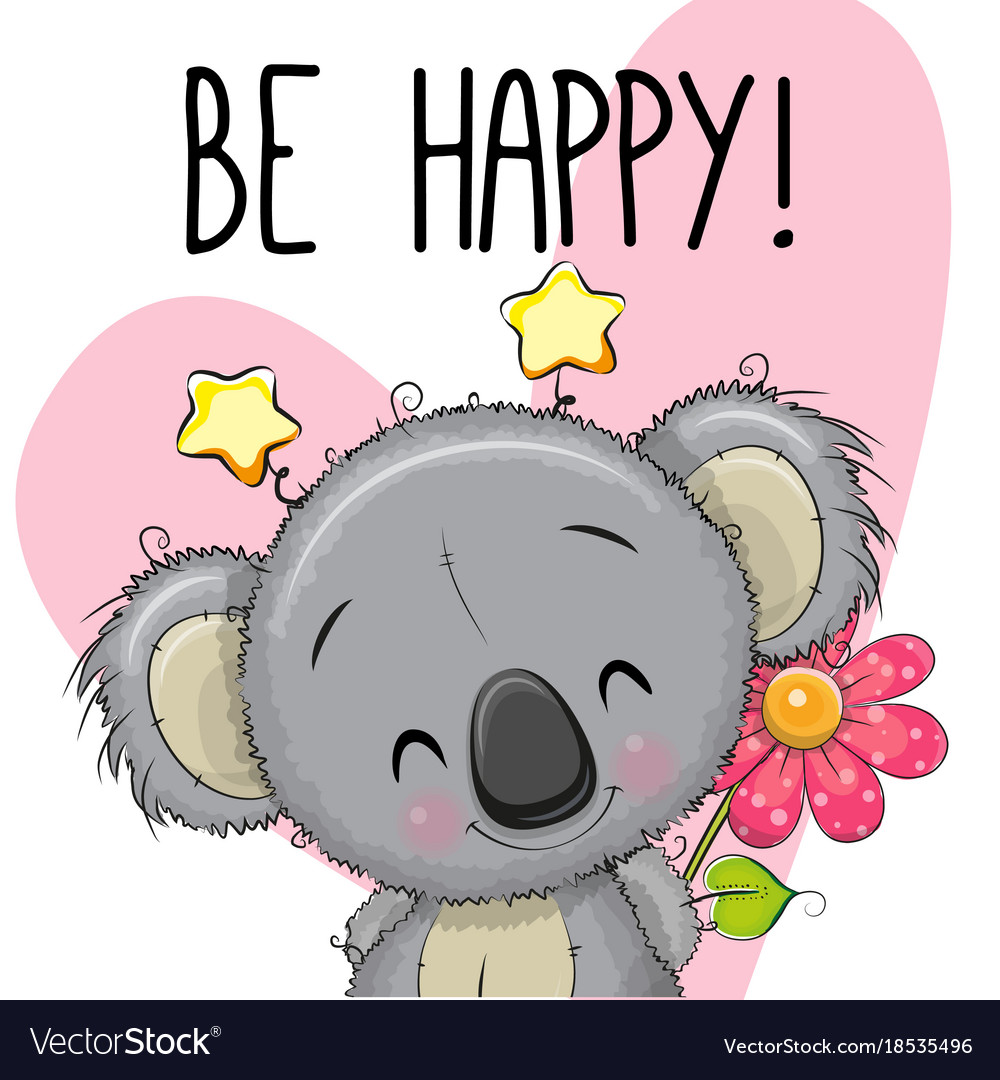 Be Happy Greeting Card With Koala Royalty Free Vector Image